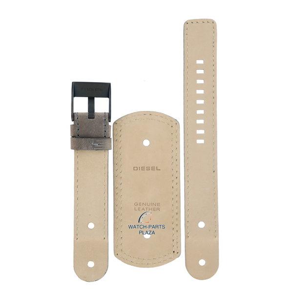 Diesel Horlogebandje Diesel DZ2102 bruin lederen band 20mm zwarte gesp origineel