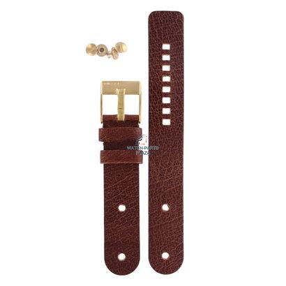 Diesel Watch Band Diesel DZ2021 brown genuine leather strap 20mm & gold buckle