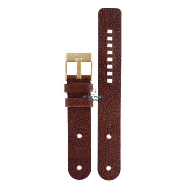 Diesel Horlogeband Diesel DZ2021 bruin lederen band 20mm & gouden gesp