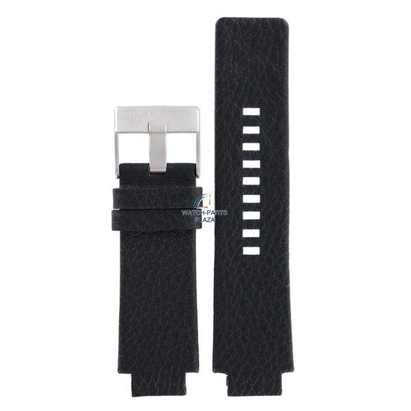Diesel Horlogeband Diesel DZ1089 & DZ1091 Cliffhanger zwart leren band 18mm