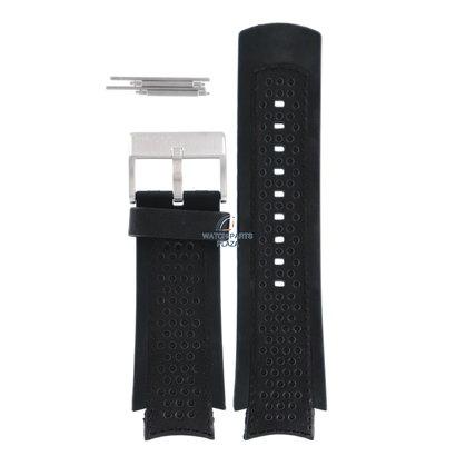 Diesel Horlogeband Diesel DZ4024 / DZ4025 zwart rubberen en lederen band 21 mm