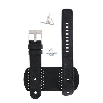 Diesel Horlogeband Diesel DZ2055 zwarte manchet leren band 20mm