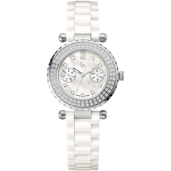 Guess Collection Horloge Guess Collection A28101L1 Diver Chic 97 wit keramiek - Swiss Made - Precious serie