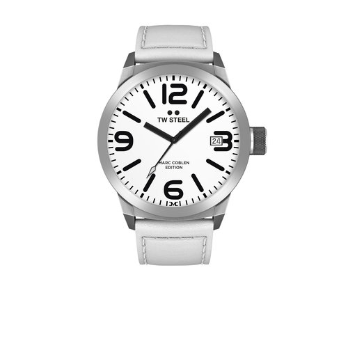 TW-Steel TW-Steel TWMC43 watch with white leather strap