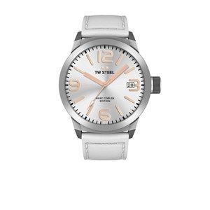 TW-Steel Reloj TW-Steel TWMC44 con correa de piel blanca.