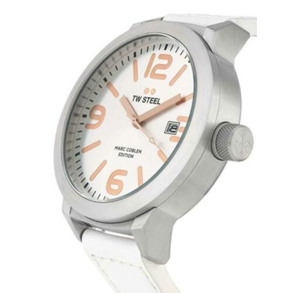 TW-Steel Horloge TW-Steel Marc Coblen TWMC44 heren - wit lederen band 50mm kast
