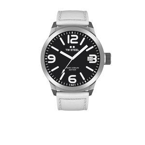 TW-Steel Reloj TW Steel TWMC45 con correa de piel blanca.