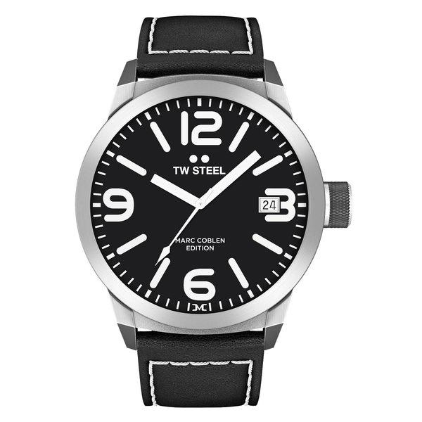TW-Steel Horloge TW-Steel Marc Coblen TWMC54 analoog zwart leren band 50mm zwarte wijzerplaat