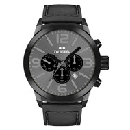TW-Steel TW Steel TWMC18 chronograph watch black with black leather strap