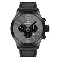 TW Steel TWMC18 chronograaf horloge zwart met zwart leren band