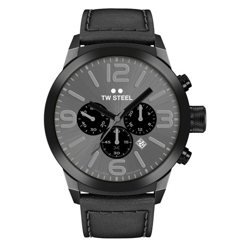 TW-Steel TW Steel TWMC18 chronograaf horloge zwart met zwart leren band