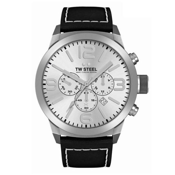 TW-Steel TW-Steel Marc Coblen TWMC60 chronograph watch black 50mm white stitched black strap