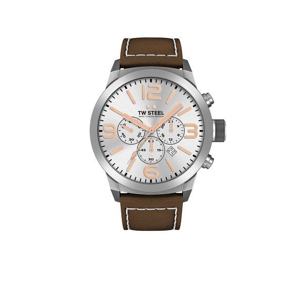 TW-Steel TW-Steel Marc Coblen TWMC11 chronograaf horloge heren met bruin lederen band 42mm