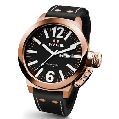 TW-Steel Horloge TW-Steel CEO Canteen CE1022 analoog rosé 50mm met zwart leren band