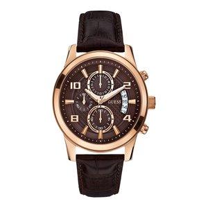 Guess El reloj Guess Exec W0076G4 se levantó 44 mm con correa de cuero marrón