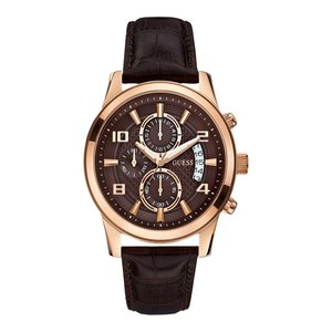 Guess Orologio Guess Exec W0076G4 rosa 44mm con cinturino in pelle marrone