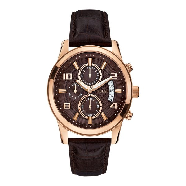 Guess Watch Guess Exec W0076G4 chronograph watch men's rosé 44mm brown croco leather strap