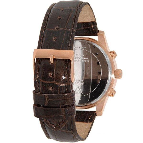 Guess Horloge Guess Exec W0076G4 chronograaf horloge heren rosé 44mm bruin croco leren band