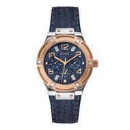 Guess Guess Jet Setter W0289L1 horloge rosé 39mm met blauwe band
