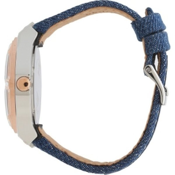 Guess Horloge Guess W0289L1 Jet Setter analoog horloge dames rosé 39mm blauw textiel leren band
