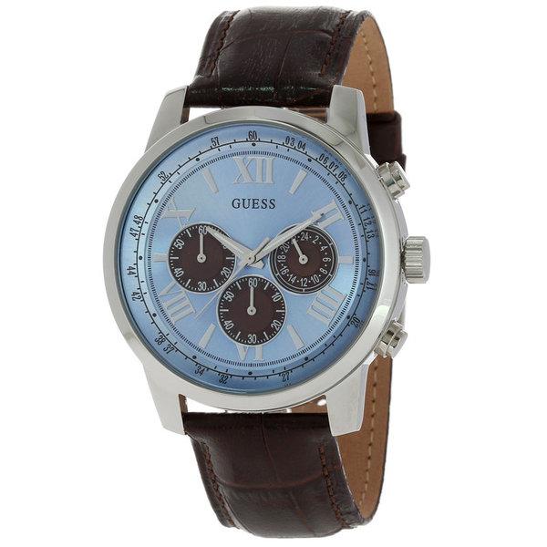 Guess Horloge Guess W0380G6 Horizon chronograaf horloge heren 45mm bruin croco leren band
