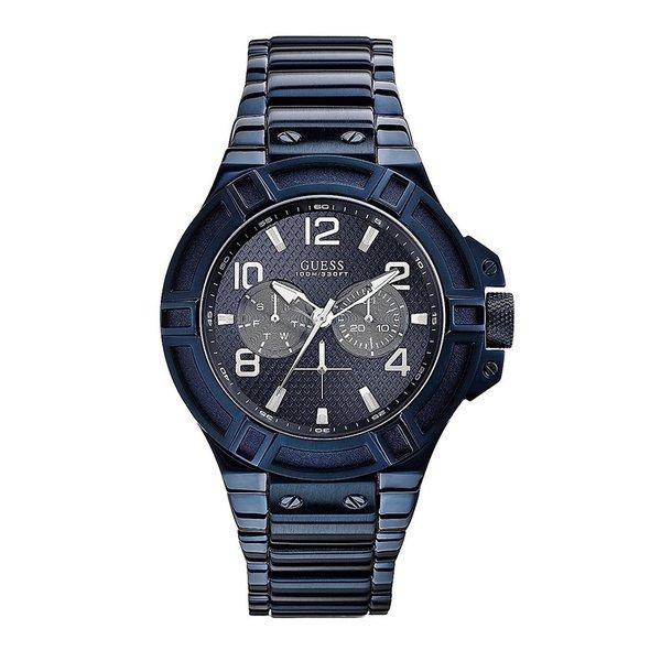 Guess Horloge Guess W0218G4 Rigor analoog herenhorloge blauw 45mm staal