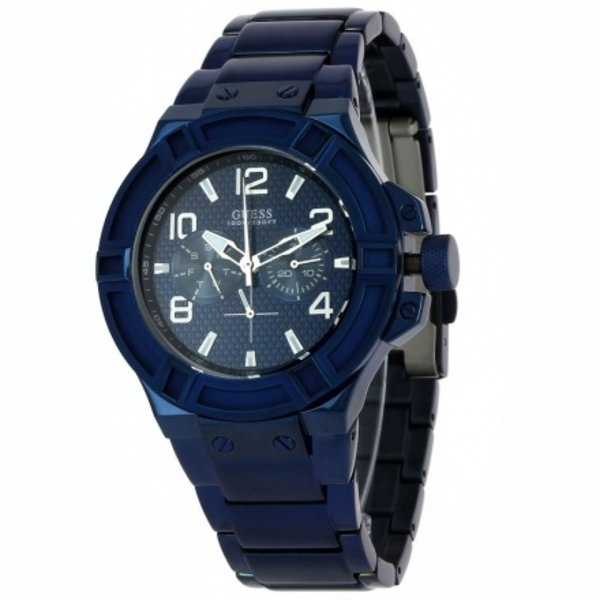 Guess Guess watch W0218G4 Rigor analog men's watch blue 45mm stainless steel