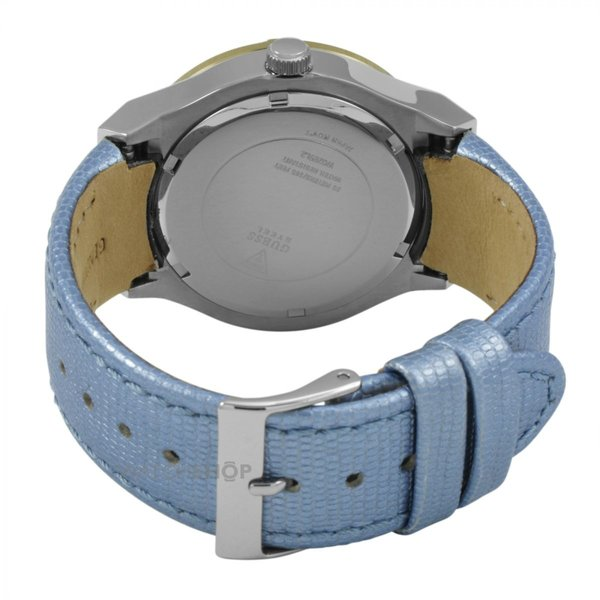 Guess Watch Guess W0289L2 Jet Setter ladies watch gold colored 39mm light blue strap