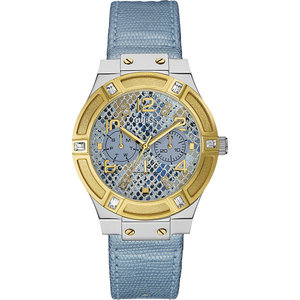 Guess Guess Jet Setter W0289L2 horloge goud 39mm met lichtblauwe band