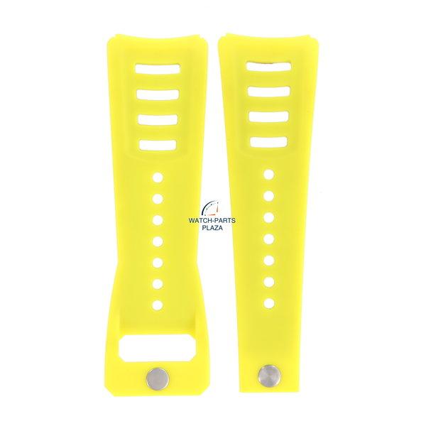 Diesel Horlogeband Diesel DZ3030 gele rubberen en lederen band 30 mm origineel