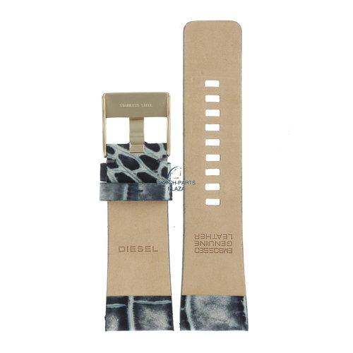 Diesel Banda de reloj Diesel DZ2131 azul y gris correa de cuero 27 mm de impresión de cocodrilo DZ 2133
