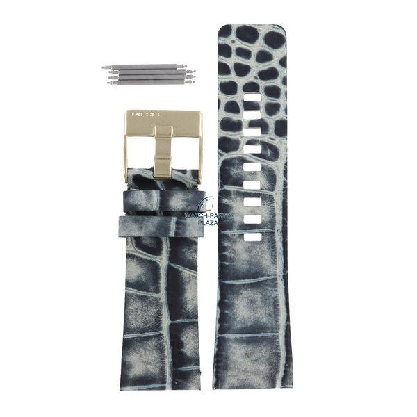 Diesel Watch Band Diesel DZ2131 blue & gray leather strap 27mm crocodile print DZ 2133