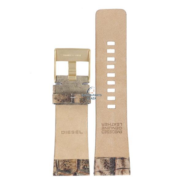 Diesel Horlogeband Diesel DZ2130 bruin / beige lederen band 27mm crocoprint DZ-2131