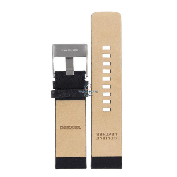 Diesel Horlogeband Diesel DZ1076 / DZ1085 zwart lederen band 24 mm origineel