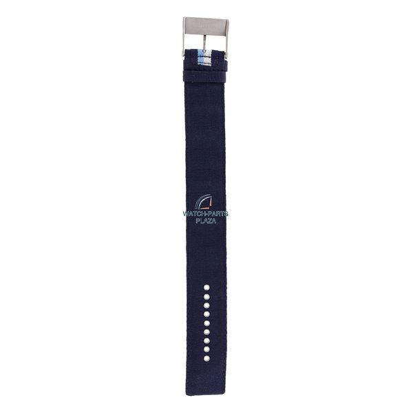 Diesel Watchband Diesel DZ2041 original blue canvas & leather strap 27mm DZ-2041