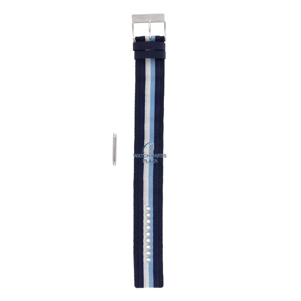 Diesel Horlogeband Diesel DZ2041 origineel blauw canvas en leren band 27mm DZ-2041