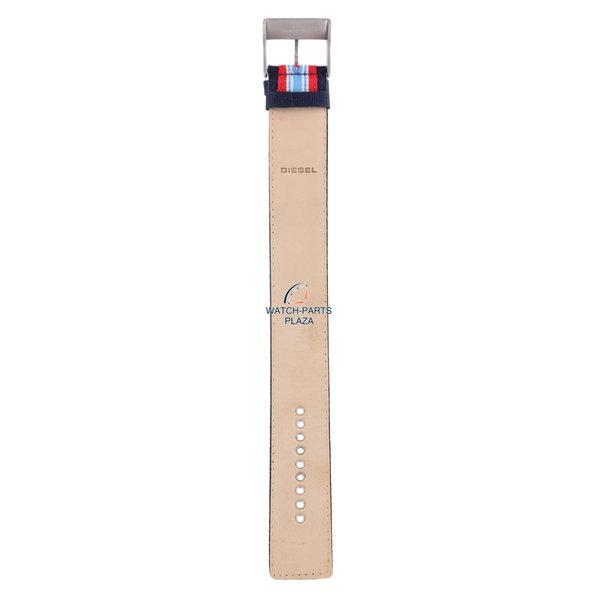 Diesel Horlogeband Diesel DZ2058 origineel rood & blauw canvas / lederen band 27mm DZ-2058