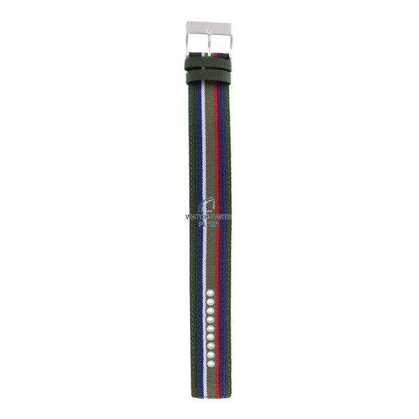 Diesel Watchband Diesel DZ2057 original green & blue canvas / leather strap 27mm DZ-2057