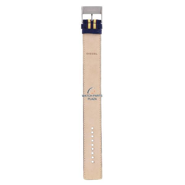 Diesel Watchband Diesel DZ2059 original yellow & dark blue canvas / leather strap 27mm DZ-2059