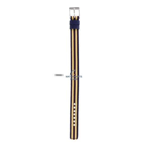Diesel Diesel DZ-2085 horlogeband blauw & geel canvas / leer 14 mm