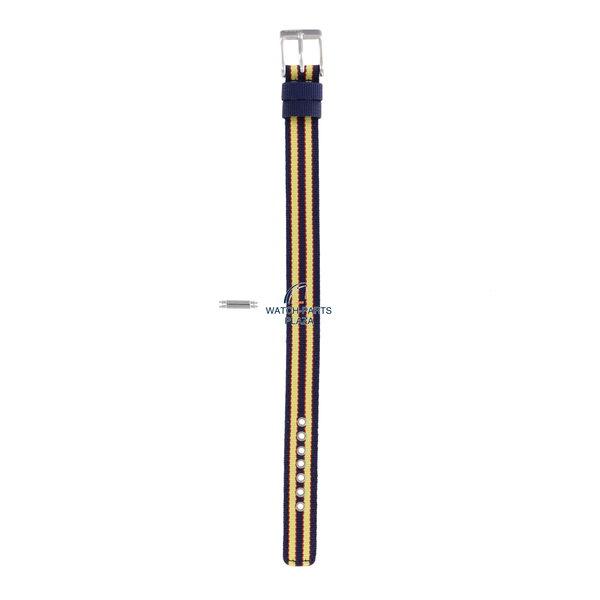 Diesel Horlogeband Diesel DZ2085 origineel geel en donkerblauw canvas / lederen band 14mm DZ-2085