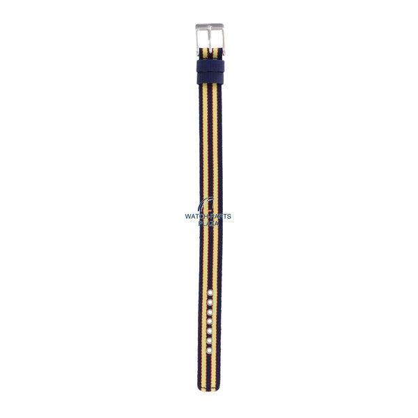 Diesel Watchband Diesel DZ2085 original yellow & dark blue canvas / leather strap 14mm DZ-2085