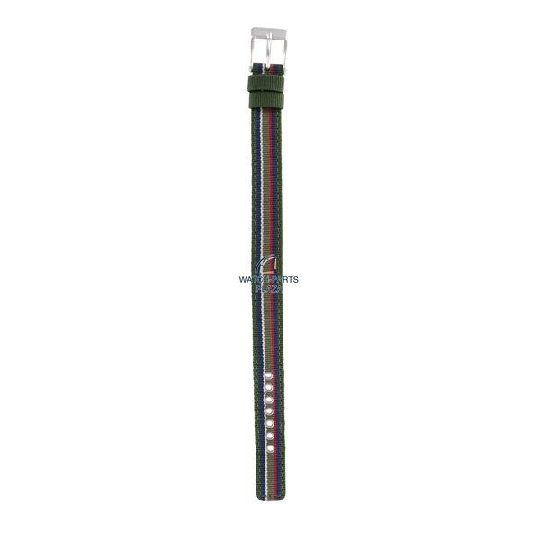 Diesel Horlogebandje Diesel DZ2082 origineel groen en blauw canvas / lederen band 14mm DZ-2082