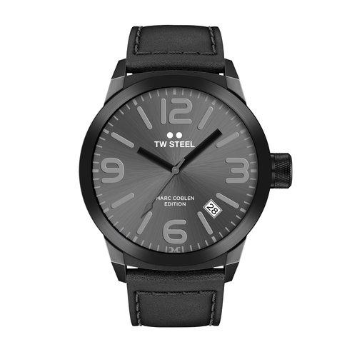 TW-Steel TW Steel TWMC8 herenhorloge zwart met zwart leren band