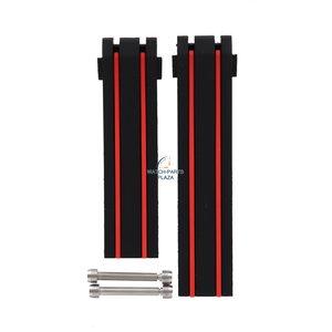 Tissot Bracelet de montre Tissot T610036567 noir et rouge ligné T092417A 20 mm