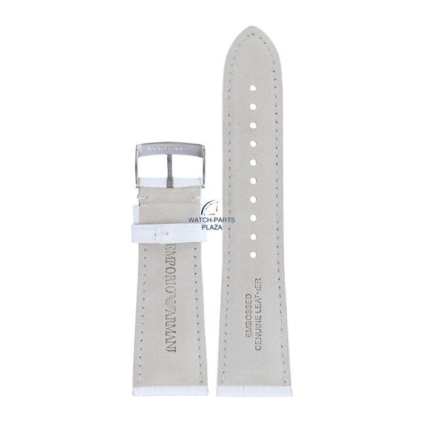 Armani Bracelet de montre en cuir blanc 24mm AR-0287 Emporio Armani Carmelo AR0287