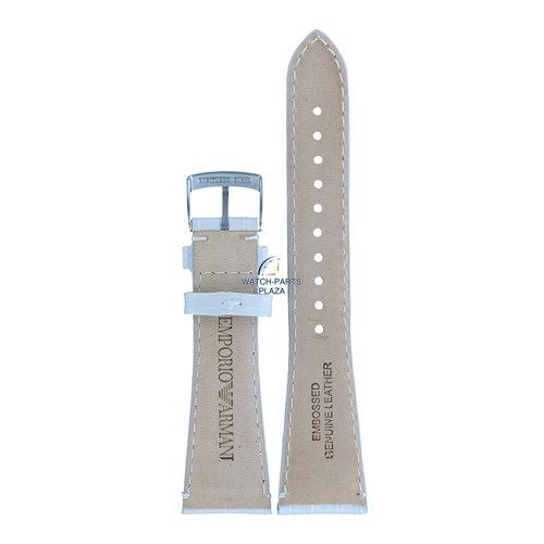 Armani Emporio Armani AR0295 correa de reloj cuero blanco 22mm correa original