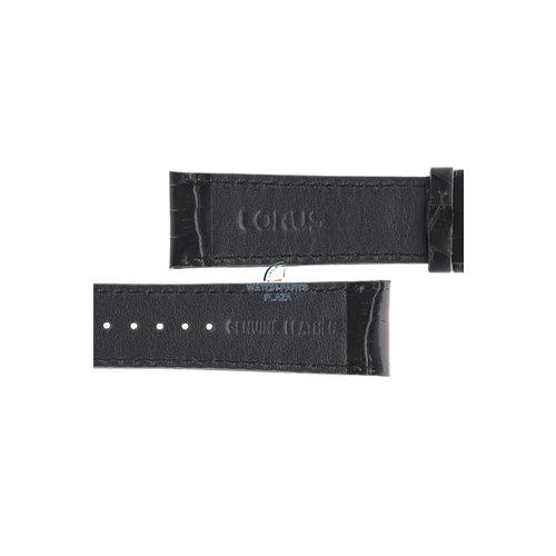 Lorus Lorus VD57-X015 correa de reloj de cuero genuino negro 22mm RM371AX9