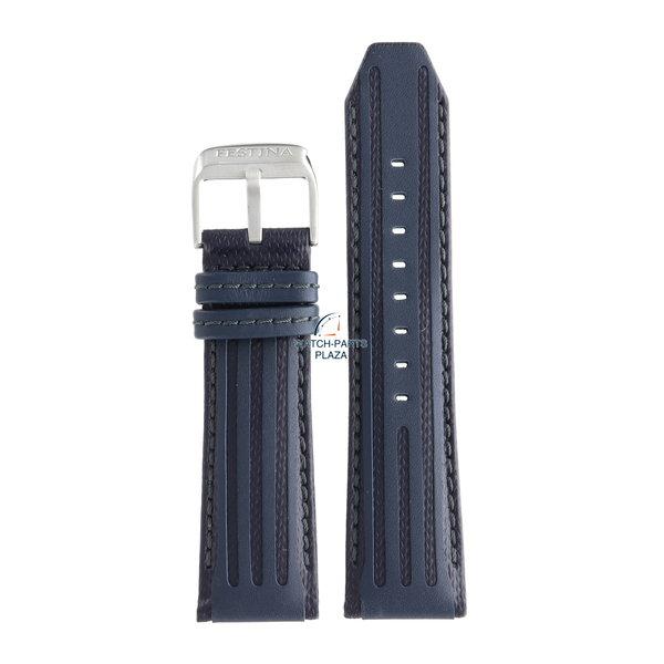 Festina Festina BC09439 Horlogeband F16489/B blauw leer 25 mm - Chronograph