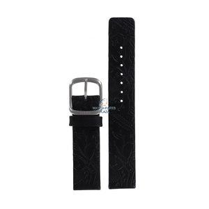 Fossil Fossil JR8018 Horlogeband Zwart Leer 18 mm